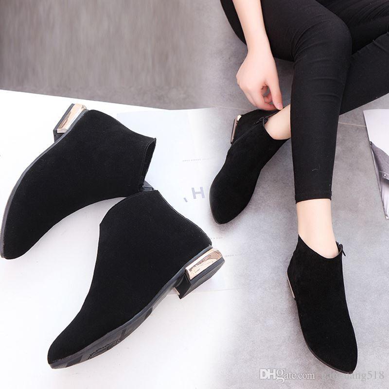 2017 النسخة الكورية من الأحذية النسائية مع الأحذية المسطحة المرأة nubuck جلد الكاحل الأحذية الخريف والشتاء شقة مارتن