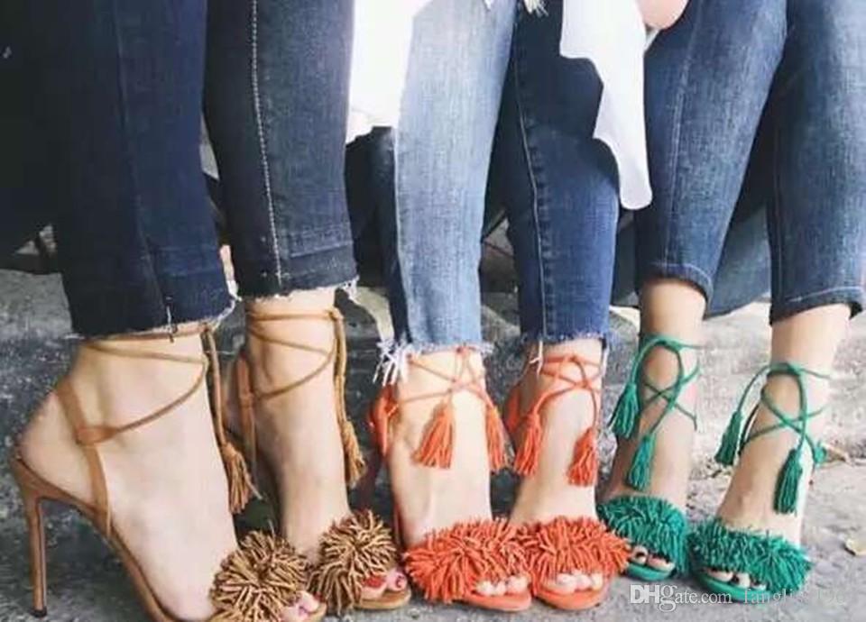 2016 kadın marka moda vahşi şey süet deri yüksek topuklu sandalet. Tosel askı yüksek topuk püskül sandalet parti pompaları