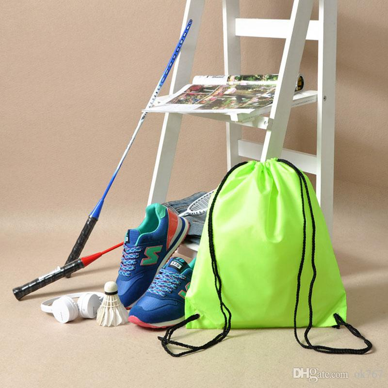 New Gym Storage Bag Nylon Sports Drawstring Belt Riding Backpack Shoes Container Bag Clothes Organizer Waterproof
