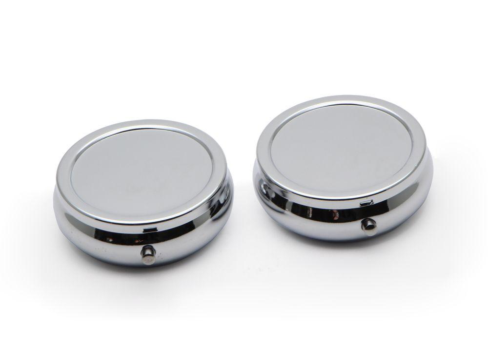 1000X Round Pocket Pill Boxes Cases Portable Engravable Chrome Purse
