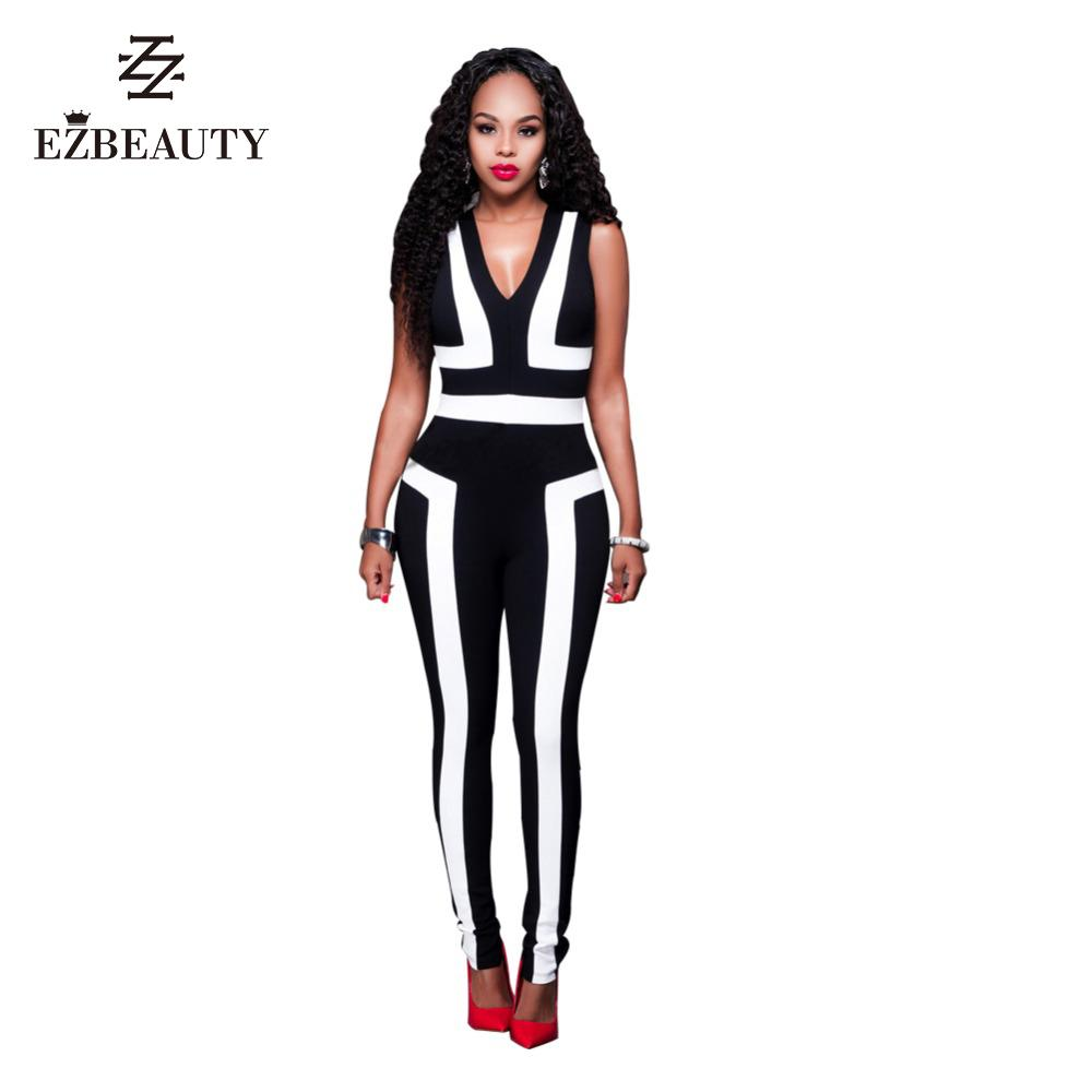 f7504803b7a1 2019 Wholesale Jumpsuits 2016 Black And White Rompers Sleeveless Womens  Bodysuits Long Pants Jumpsuits Fitted Spring Autumn New Fashion From Primali