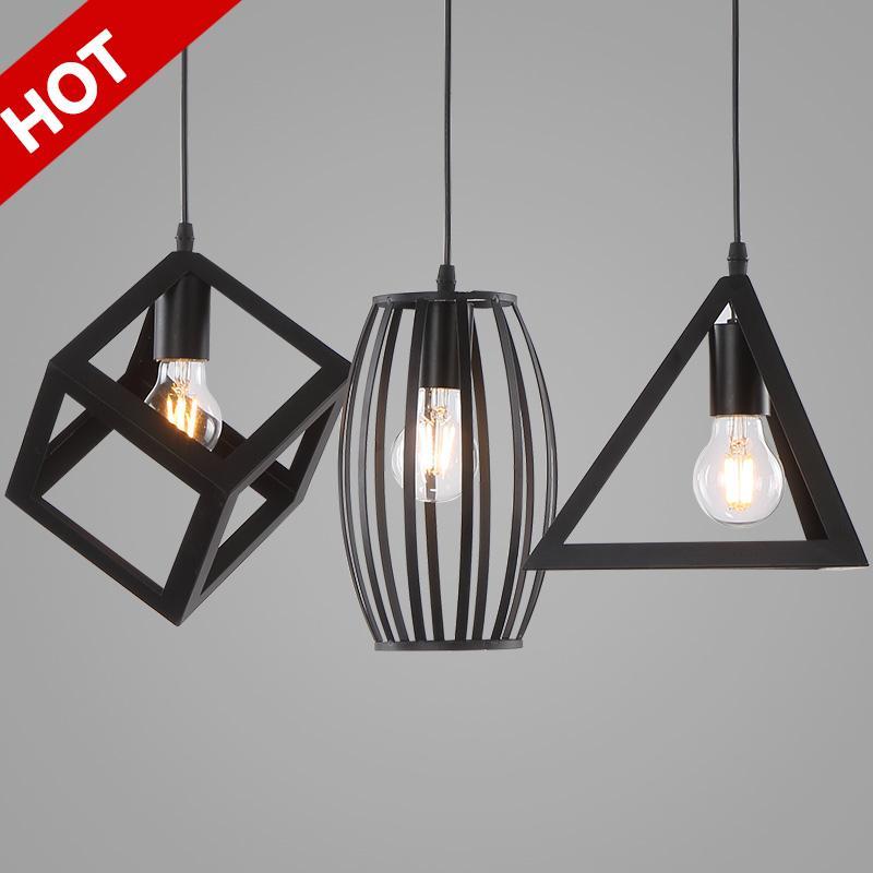Compre Lampe Negro Retro Lámpara Colgante Industrial Edison Lámparas ...