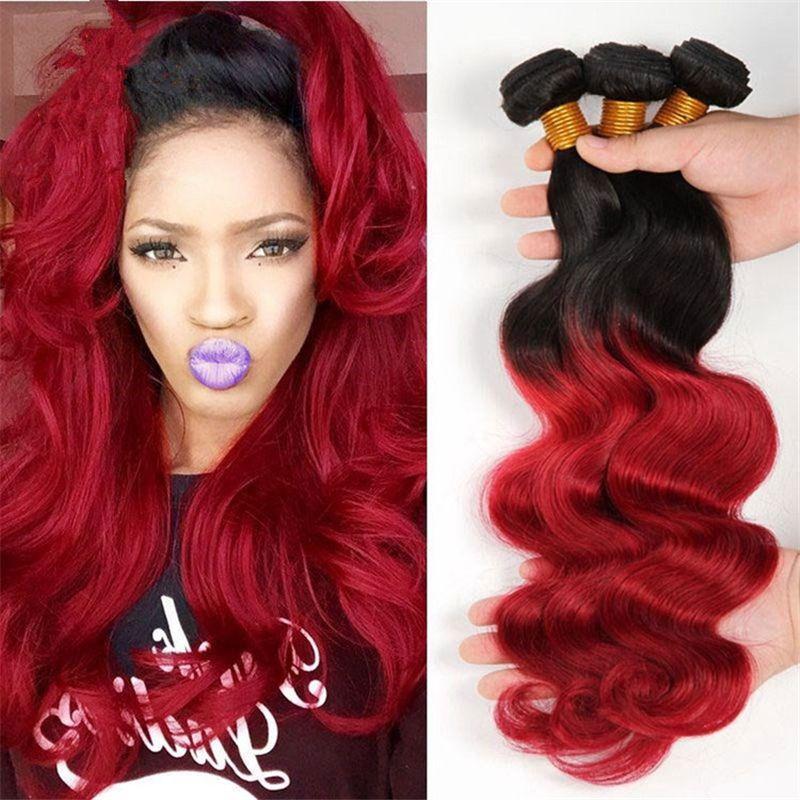 Two Tone Black Red Brazilian Virgin Hair 3 Bundles Ombre Body Wave Human Hair Weaves 1B 99J Ombre Hair Extensions