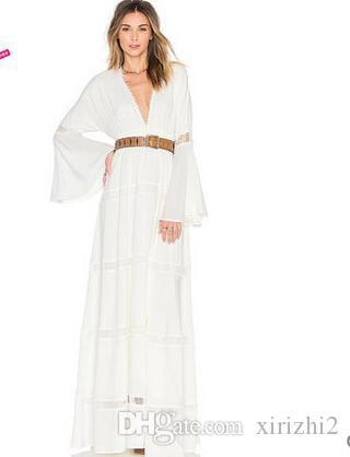 f57ab3d39e95 Spring And Autumn Women Sexy Chiffon Maxi Dress White Puff Sleeve Fashion  Deep V Neck Long Sleeved Floor Length Dresses Women Floral Dresses Casual  Long ...
