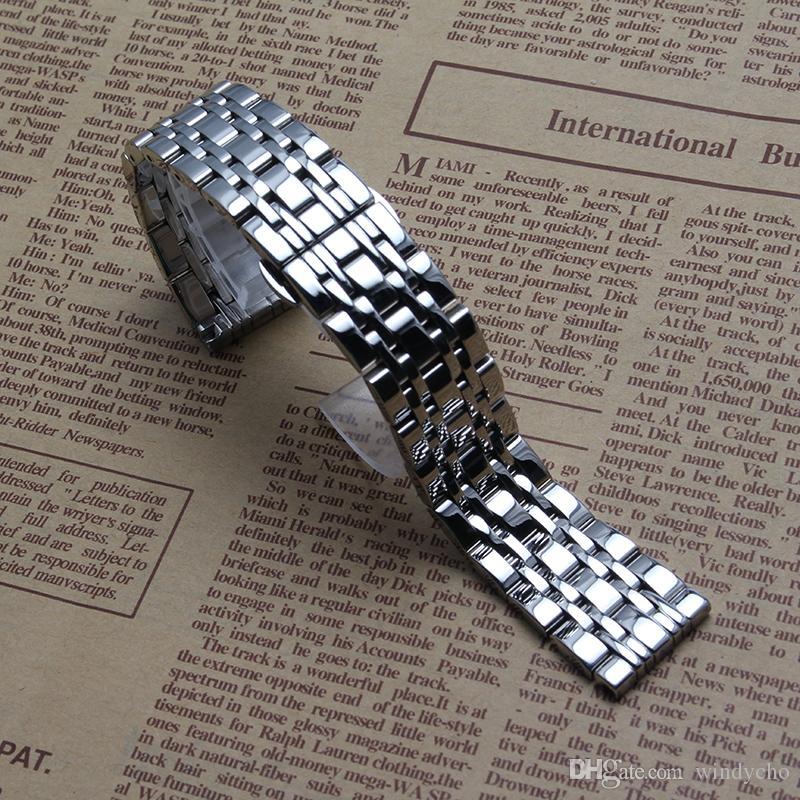 Nuevo acero inoxidable pulido brillante pulseras de reloj de mariposa hebilla de 12 mm 14 mm 16 mm 18 mm 20 mm 22 mm de plata para hombre horas de marca caliente