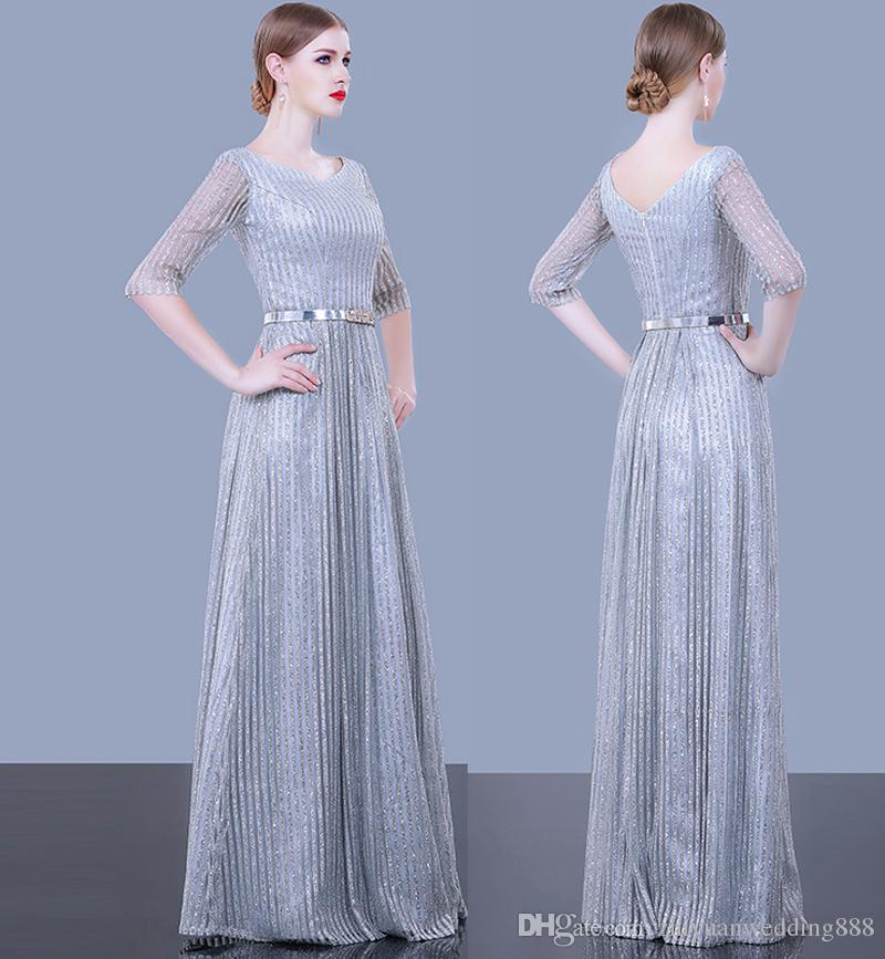 dcdc4a2232a Silver Grey Sequin Tulle Half Sleeves A-line Evening Dresses 2018 Pakistan  Sexy Dresses Evening Wear Sweep Train Evening Gowns Formal Dresses Wedding  Guest ...