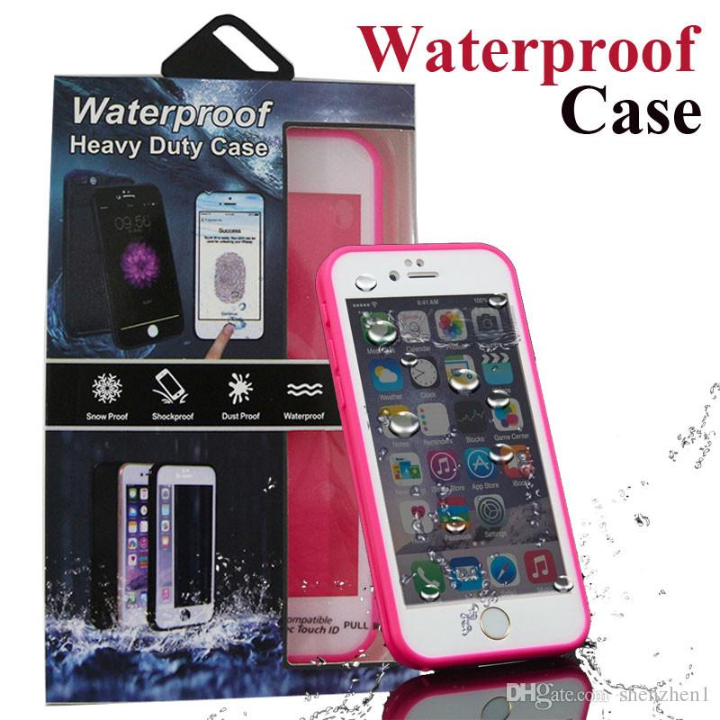 For iphone 6s plus 5s S7 Waterproof Case TPU Rubber Full Boday Cover Shock-proof Dust-proof Underwater With retail box SCA209