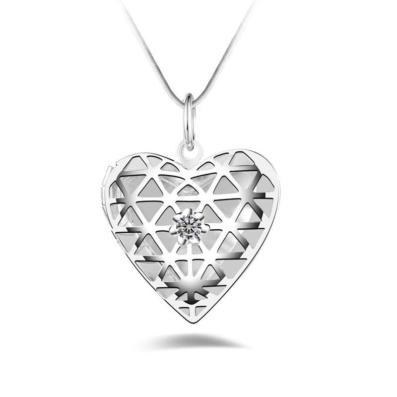 Floating Locket Necklaces Pendants Chic 925 Silver Pendant Heart Shaped Crystal Necklace DIY For wedding Jewelry