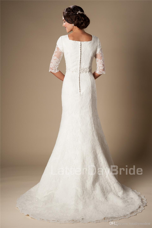 Ivory Vintage Lace Mermaid Modest Wedding Dresses With Half Sleeves Elbow Sleeves Length Beaded Belt Wedding Gowns Vestido De Noiva