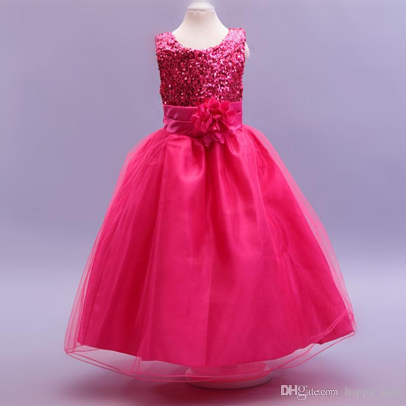 Цветочница платья Золотой блесток цветок пояс Слоновой Кости Майка пачка цветочница платья с бальное платье маленький ребенок свадьба детские Pagea