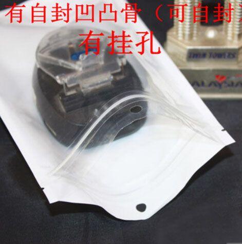 9 * 12 centímetros Branco / Clear Auto Seal Resealable Zipper plástico Retail Packaging Bag, Zip fechamento Retail Package Com Asa Buraco