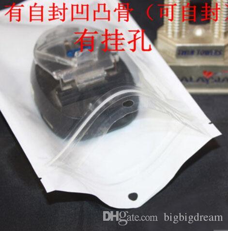 Bianco / Clear guarnizione di auto richiudibile Zipper minuto di plastica del sacchetto di imballaggio, serrature con una cerniera serratura della chiusura lampo Bag imballaggio al dettaglio con foro di caduta