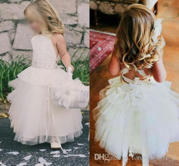 Lovely Halter Neck White Flower Girl Dresses Tulle Criss Cross Back Girls Formal Party Gowns Kids Pageant Communion Gowns with Sash