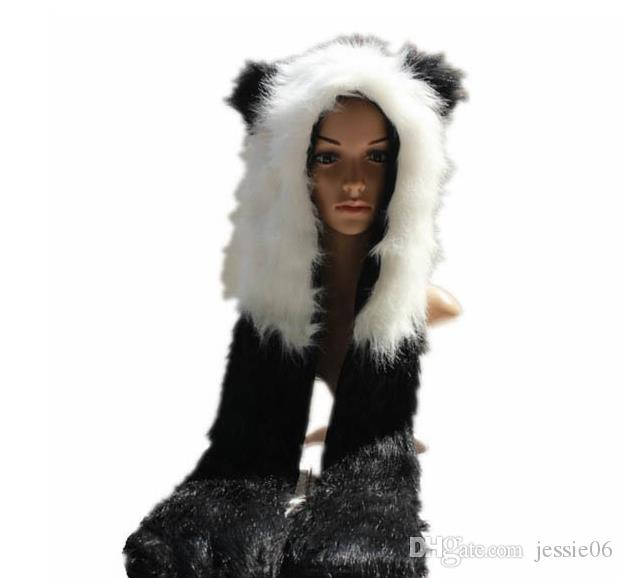 Faux Fur Animal Orks Hat Guanti Mittens Scarf Snood Hood Wolf Paws Costume di Halloween Cappelli Grande regalo in poliestere