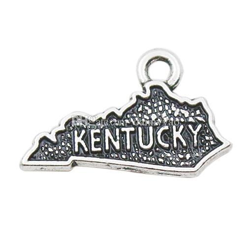 Moda Alaşım Amerikan Eyaleti Kentucky Harita Takılar Toptan 12 * 19mm AAC292