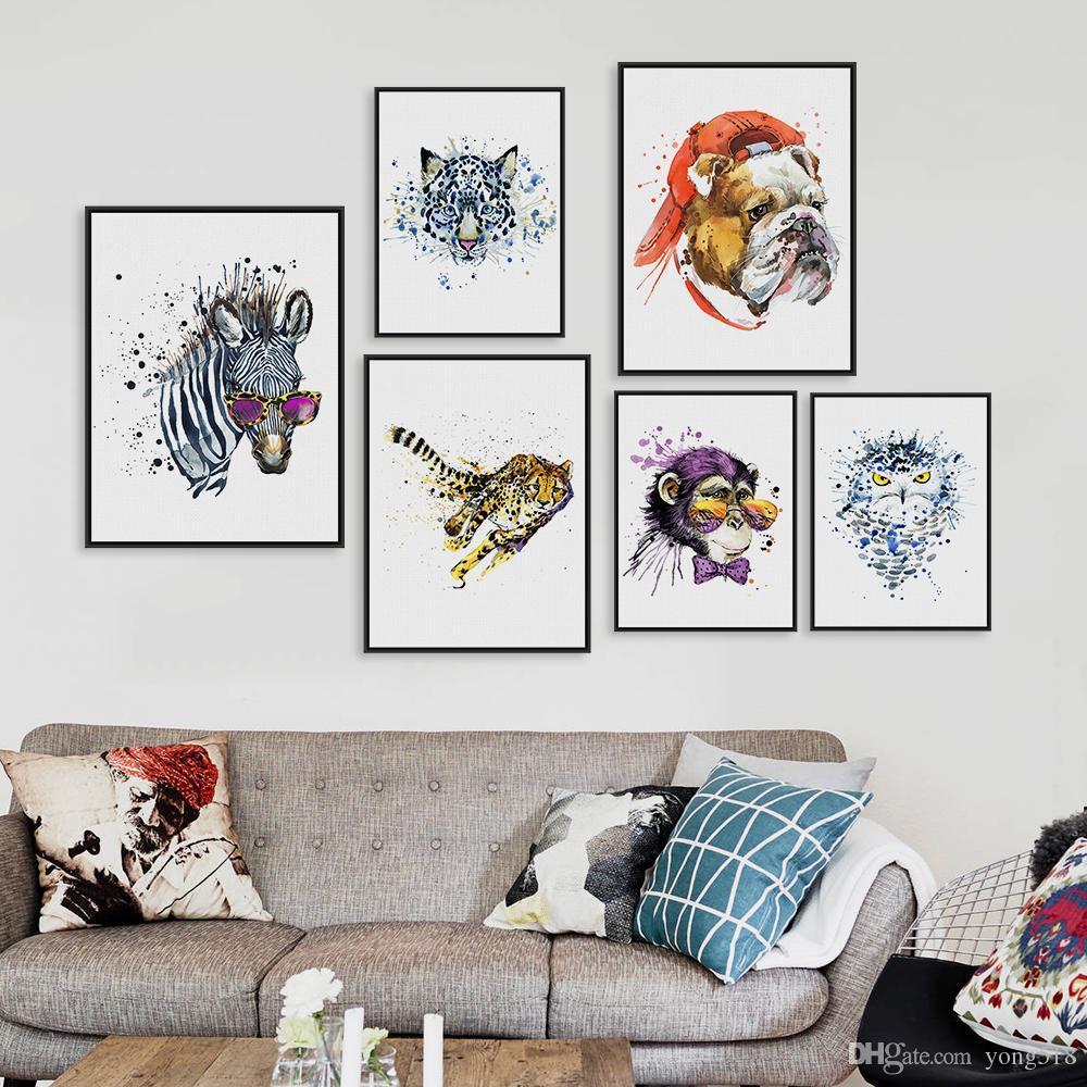Orijinal Suluboya Moda Hayvanlar Kafa Zebra Aslan A4 Büyük Sanat Baskılar Poster Duvar Resimleri Tuval Boyama Hiçbir Çerçeve Ev Dekor