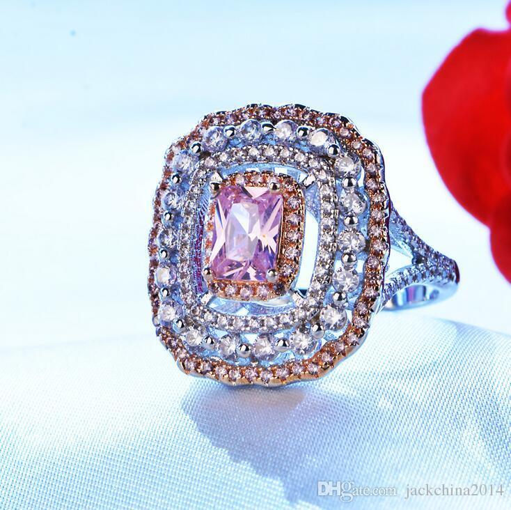 Joyería de lujo superior hecha a mano de 18 quilates de oro blanco relleno forma de cojín rosa zafiro CZ piedras preciosas de diamante de las mujeres anillo de banda de la corona de boda