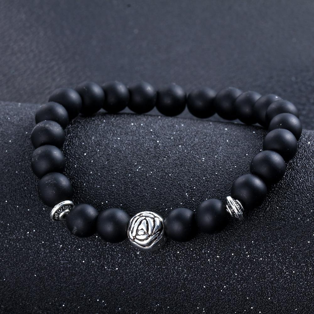 Calidad superior de la turquesa natural Howlite Stone Buddha para mujer para mujer Con cuentas Negro Scrub Onyx Ágata Lava roca Cadenas Lucky Pulsera Joyería de moda