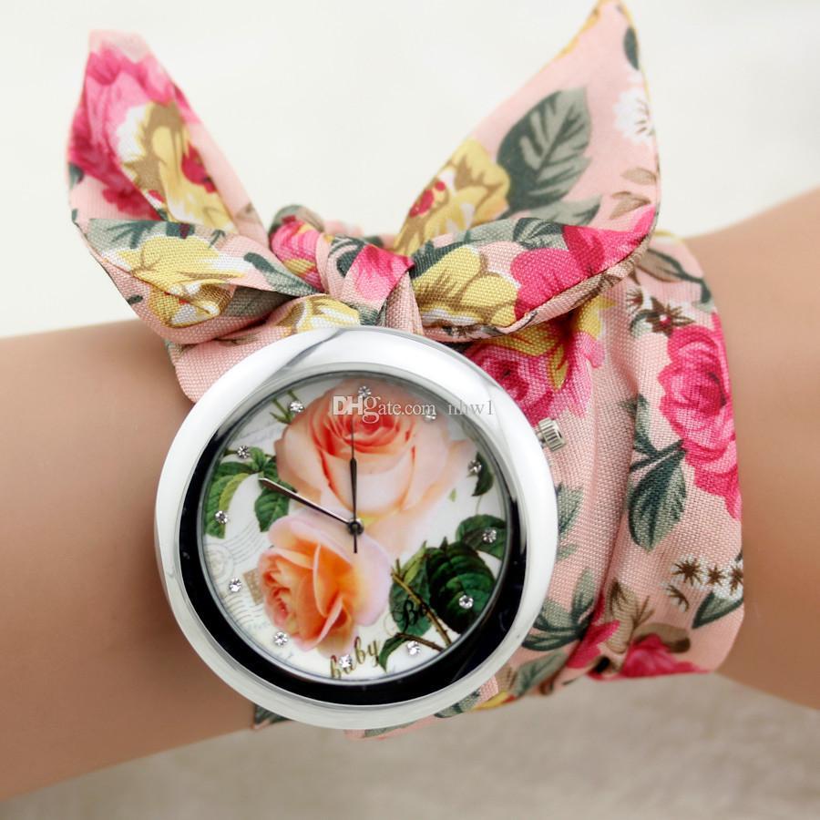 Brand Design Ladies Flower Cloth Wristwatch Fashion Women Dress Watch High Quality Fabric Watch Sweet Girls Bracelet Watch