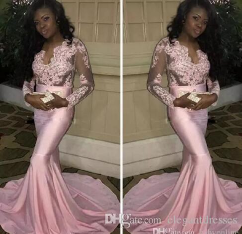 2021 Couple fashion filles noires pure manches longues robes de bal de bal moderne sirène appliquée rose rose soirée robes de guichet extensible