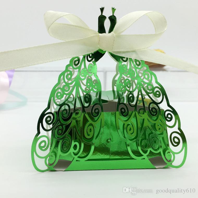 100 adet Lazer Kesim Hollow Peacock Şeker Kutusu Çikolata Kutuları Için Kurdele Ile Düğün Parti Bebek Duş Iyilik Hediye