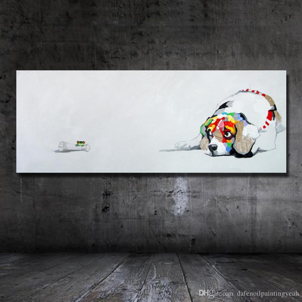 Hot Sale Lovely Dog Painting For Living Room Wall Hand Painted Oil Painting on Canvas Decorative Wall Painting No Framed