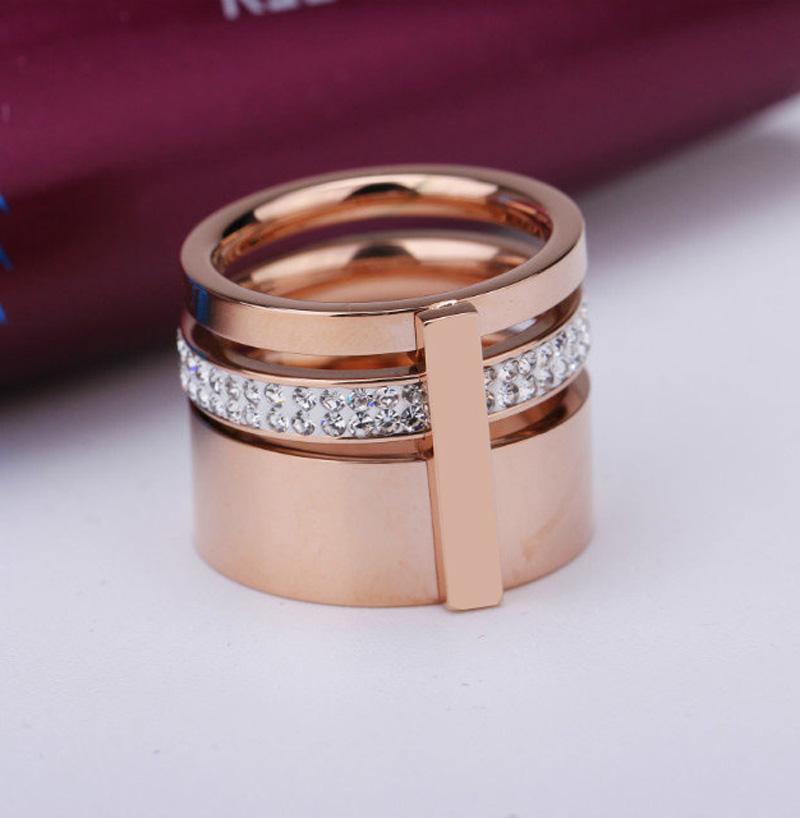 Высокое качество известный бренд драгоценных камней кольца для женщин человек Титана нержавеющей стали кольца розовое золото кольца глины Кристалл палец кольцо ювелирные изделия