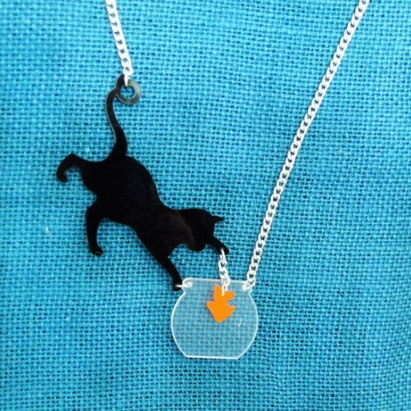 Wholesale cat catch fish necklace laser cut acrylic necklace womans see larger image aloadofball Gallery