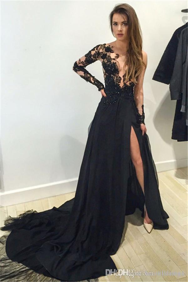 Mode Noir Robes De Bal Une Epaule Manches Longues Fente Robes De Soirée Dentelle Robes De Soirée En Dentelle Dubai Dubaï Robe Occasion Occasionnelle