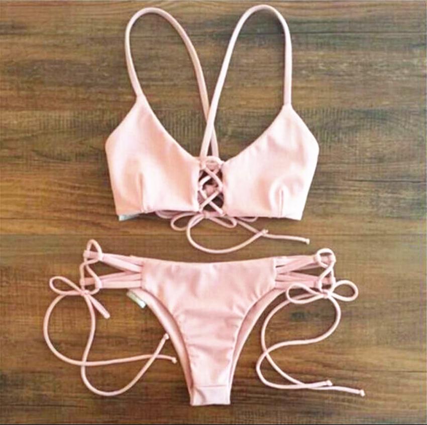 Hot Sale Bikinis Lovely Swimwear Sets Sexy Women Micro mini G-String Brazilian bikini micro triangle bra top halter ties with g-string