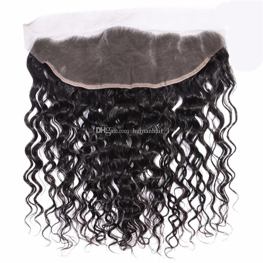 Acqua onda con pizzo frontale chiusura fasci di capelli umani bagnati ed ondulati con pizzo frontale brasiliana vergini capelli trame 4 pz / lotto