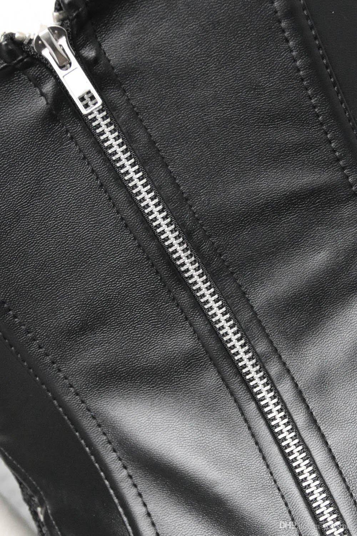 Sexy corsetto steampunk in pelle nera abito donna nero Lingerie gotico corsetto in pizzo abiti bustier abito corto signore plus size S-5XL