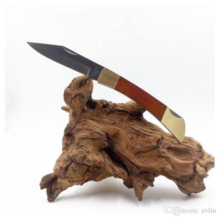 Fabbrica Direct di alta qualità Ghillie Pieghevole Blade Fruit Blade Coltelli da frutto in legno + Coltello manico testa di rame Mini EDC Pocket Survival Knifes