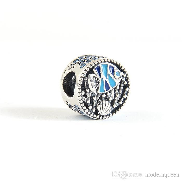 Ocean Life Charms Perles S925 Sterling Silver Fits pour Bracelet de style DIY H8
