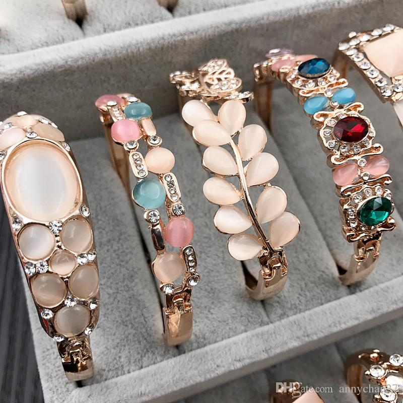 Charme Armreif Armband Rose Gold Silber Mix verschiedene Stile Großhandel Katze Eye Edelstein Strass Schmuck Korean Mode Qualität Armband DHL