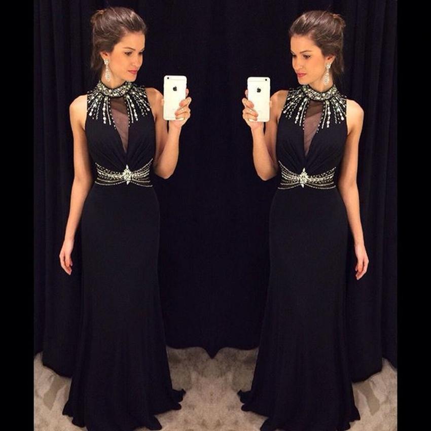 Compre Vestido Negro Largo Barato Semi Formal Vestidos De Noche Del ...