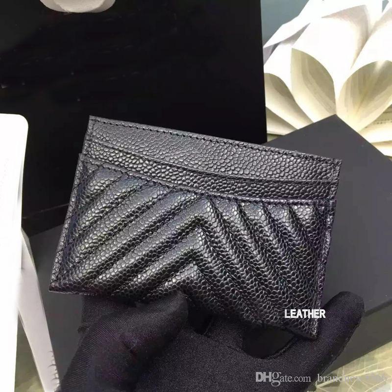 excellent quality black caviar V card holder 2016 original lambskin card holder 100% genuine leather mini v Lattice credit card holder