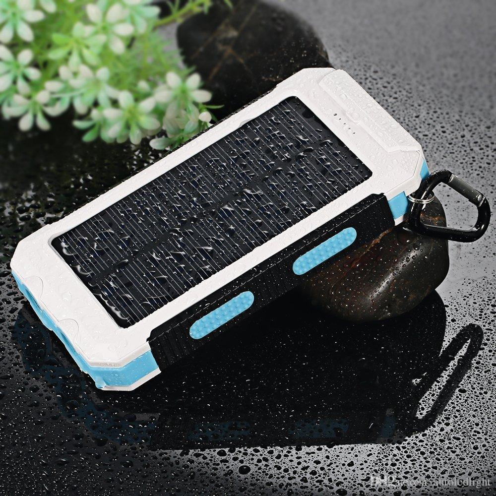 portable Solar Charger Solar Power Bank 10000mAh External Backup Battery Pack Dual USB Solar Panel Charger with 2LED Light Carabiner Compass