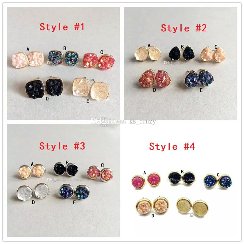 Fashion 4 styles Druzy Drusy Stone Stud Earrings New York Resin Lava Crystal Earings gold color brand jewelry For women