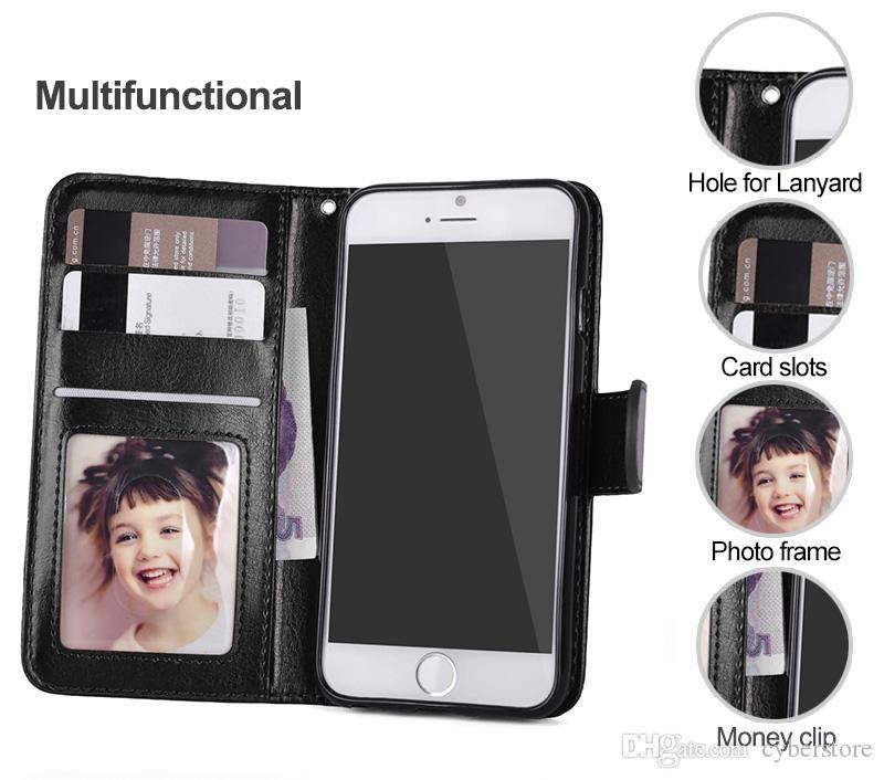 Pour iPhone XS MAX Etui portefeuille Etui en cuir Etui de protection amovible magnétique Pour iPhone 11 x 7 8 Samsung Note10 S10 S9 Plus