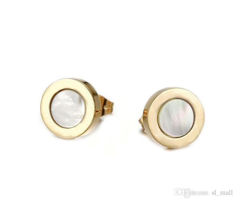 Moda Siyah / Beyaz Kabuk Küçük Titanyum Paslanmaz Çelik Saplama Küpe, Sarı Altın / Gül altın / Gümüş Metal Renkler Kadınlar / Erkekler Takı