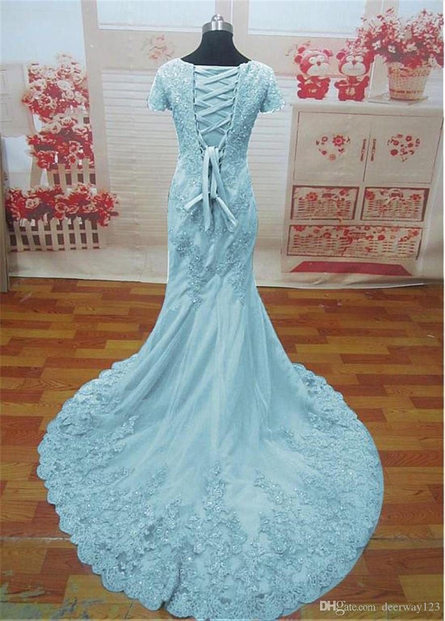 Fantastic Tulle Scoop Neckline Mermaid Evening Dresses With Beaded Lace Appliques Blue Short Sleeves Prom Dresses vestidos de formatura