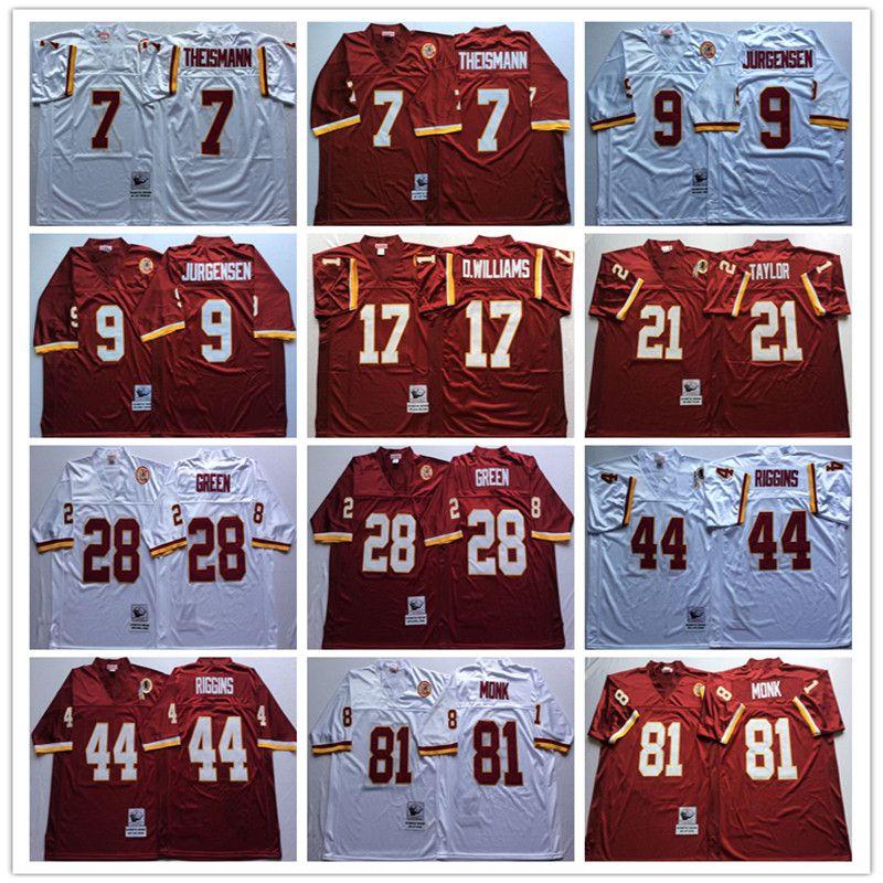 new style aa58f 971a1 Men's Throwback jersey 21 Sean Taylor 7 Joe Theismann 9 Sonny Jurgensen 28  Darrell Green 44 John Riggins 81 Art Monk Stitched Jersey