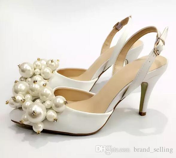 Wedding Shoes White Satin High Heels Pumps Studded Exquisite Pearl all-match Women Banquet Socialite Party Dress High Heel Shoes