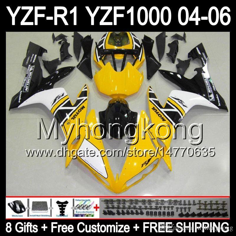 8Gifts+Body For YAMAHA YZF-R1 04-06 YZF R1 MY47 Yellow black YZF1000 YZFR1 04 05 06 YZF 1000 YZF R 1 2004 2005 2006 Yellow white Fairing Kit