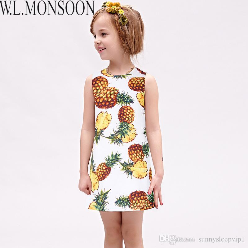 a2c177942fc W.L.MONSOON Girls Summer Dresses with Pineapple Print 2017 Brand ...