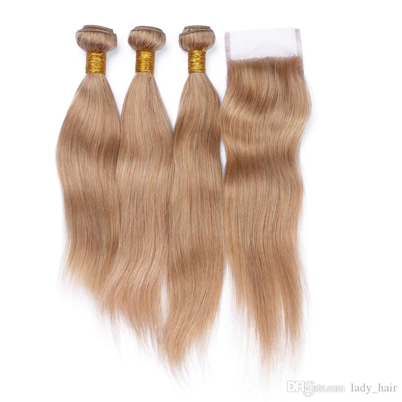 Honey Blonde Brazilian Human Hair With Closure 9A Cheap #27 Strawberry Blonde Human Hair 3Bundles With Straight 4x4 Lace Top Closure
