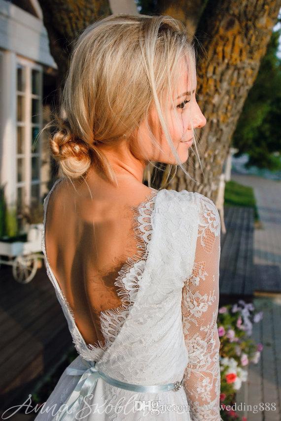 2019 Date Robes De Mariée Courtes Avec Illusion Manches Longues Full Lace V Cou Dos Nu Été Plage Robes De Mariée Fête Porter