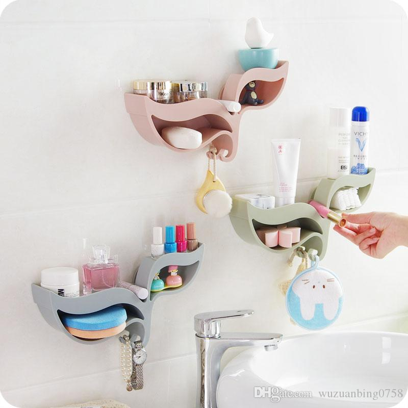 2017 Self Adhesive Leaf Shaped Bathroom Toilet Storage Rack Makeup  Organizer Debris Wall Shelf Sponge Holder Kitchen Accessories Home Decor  From ...