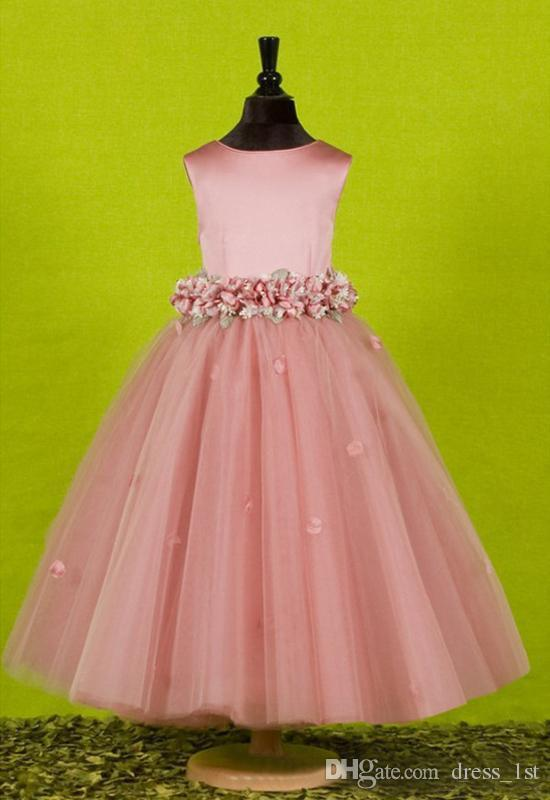 Lovely 2016 Pink Satin And Tulle A-line Flower Girl Dresses For Weddings Cheap Jewel Big Bow Sash Hand Made Flowers Birthday Party EN8225